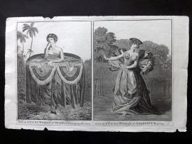 Cook, Anderson, Hogg 1784 Antique Print. Young Women of Tahiti